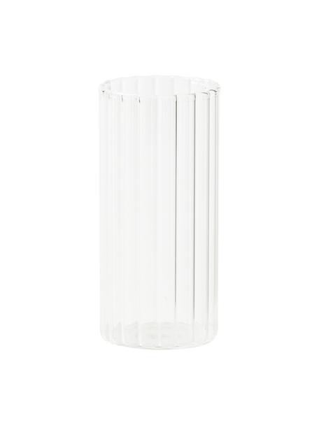 Bicchiere acqua in vetro borosilicato con rilievo Romantic 6 pz, Vetro borosilicato, Trasparente, Ø 6 x Alt. 12 cm