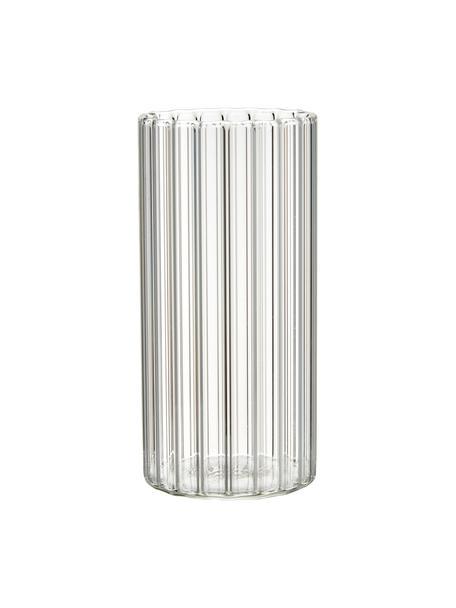 Wassergläser Romantic aus Borosilikatglas mit Rillenrelief, 6 Stück , Borosilikatglas, Transparent, Ø 6 x H 12 cm
