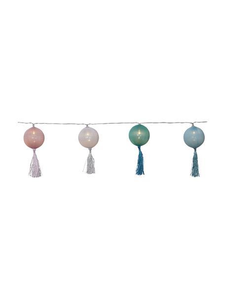 LED-Lichterkette Jolly Tassel, 185 cm, 10 Lampions, Tasseln: Baumwolle, Weiß, Rosa, Grün, Blau, L 185 cm