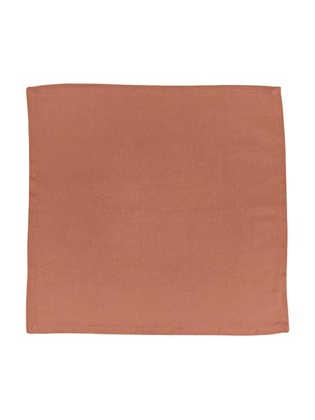 Stoff-Servietten Hemmed aus Baumwolle/Leinen, 6 Stück, 85% Baumwolle, 15% Leinen, Braun, 40 x 40 cm