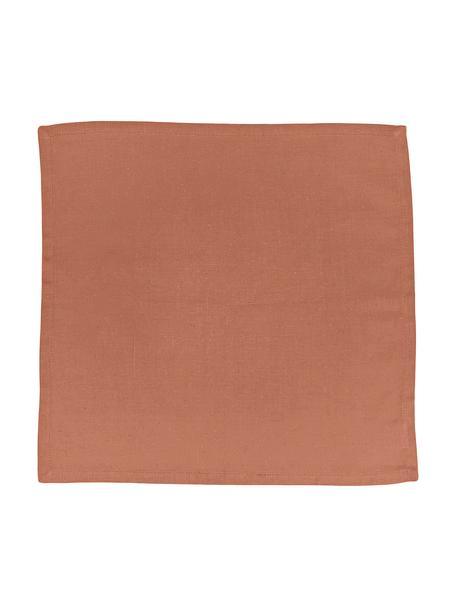 Tovagliolo in cotone/lino Hemmed 6 pz, 85% cotone, 15% lino, Marrone, Larg. 40 x Lung. 40 cm
