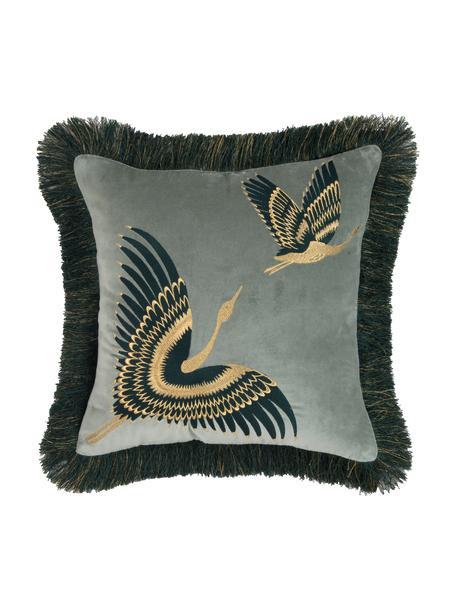 Geborduurde fluwelen kussenhoes Onyx met franjes, Franjes: polyester, Saliegroen, petrolkleurig, goudkleurig, 40 x 40 cm