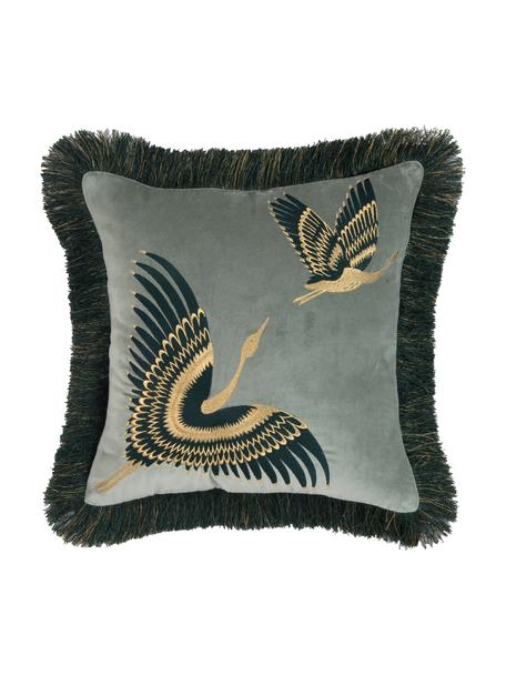 Haftowana poszewka na poduszkę z aksamitu Onyx, Szałwiowy zielony, petrol, odcienie złotego, S 40 x D 40 cm