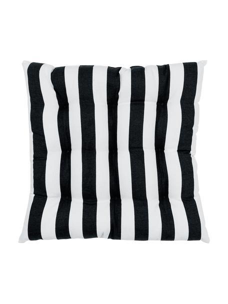 Gestreept stoelkussen Timon in zwart/wit, Zwart, 40 x 40 cm