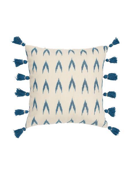Boho-Kissenhülle Cala mit blauen Quasten, 100% Baumwolle, Blau, Weiss, 45 x 45 cm