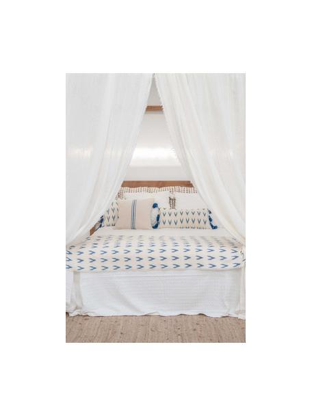 Federa arredo boho con nappe blu Cala, 100% cotone, Blu, bianco, Larg. 45 x Lung. 45 cm