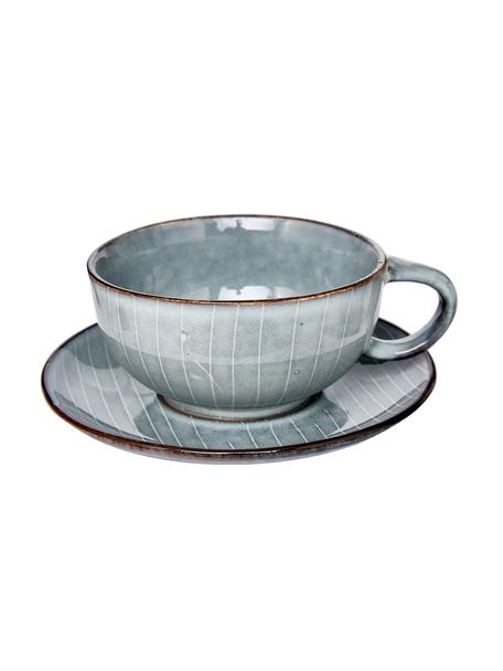 Taza de café artesanal Nordic Sea, Gres, Tonos grises y azules, Ø 11 x Al 5 cm