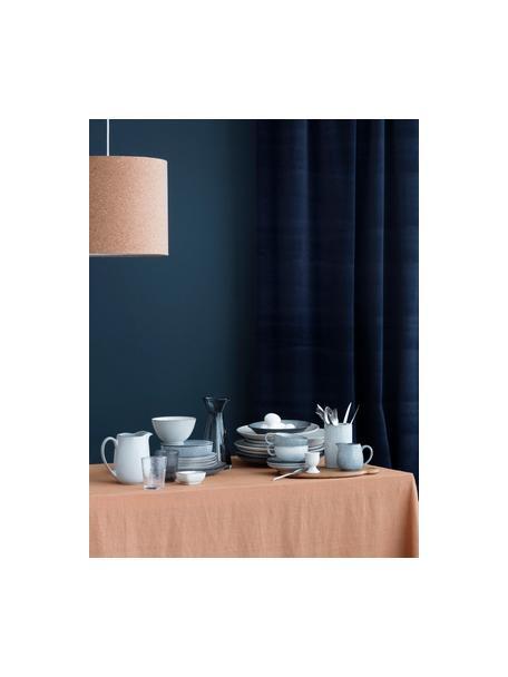 Handgemaakt kopje met schoteltje Nordic Sea van keramiek, Keramiek, Grijs- en blauwtinten, Ø 11 x H 5 cm