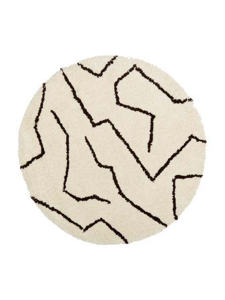 Runder Hochflor-Teppich Rasmus in Cremefarben, handgetuftet, Flor: 100% Polyester-Mikrofaser, Beige, Ø 120 cm (Größe S)
