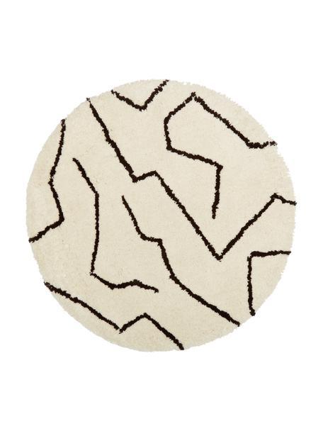 Tappeto rotondo a pelo lungo color crema taftato a mano Rasmus, Retro: poliestere riciclato, Beige, Ø 120 cm (taglia S)