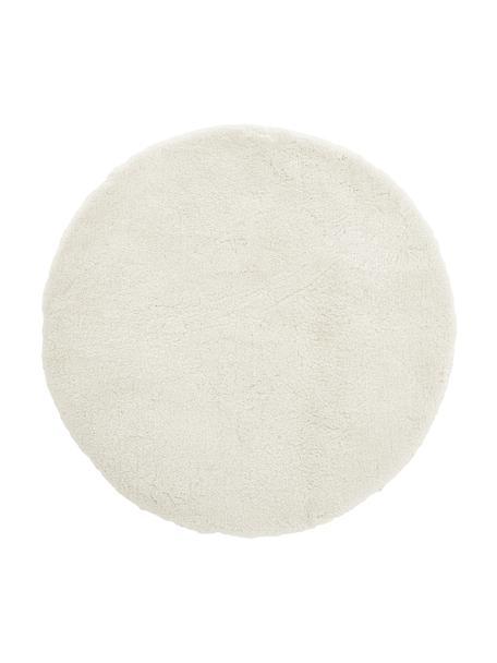Pluizig rond hoogpoolig vloerkleed Leighton in crème kleur, Crèmekleurig, Ø 120 cm (maat S)