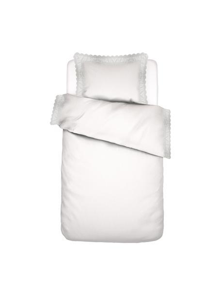 Baumwollperkal-Bettwäsche April mit Rüschen an den Seiten, Webart: Perkal, Weiß, 135 x 200 cm + 1 Kissen 80 x 80 cm
