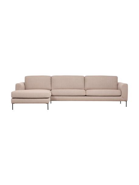 Sofa narożna z metalowymi nogami Cucita (4-osobowa), Tapicerka: tkanina (poliester) Dzięk, Nogi: metal lakierowany, Taupe, S 302 x G 163 cm