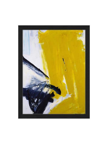 Stampa digitale incorniciata Abstract, Immagine: stampa digitale su carta,, Cornice: legno di faggio verniciat, Nero, bianco, dorato, Larg. 33 x Alt. 43 cm
