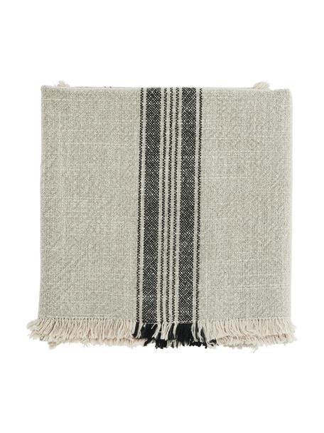 Gestreifte Baumwoll-Geschirrtücher Ripo, 2 Stück, 100% Baumwolle, Beige, Schwarz, 50 x 70 cm