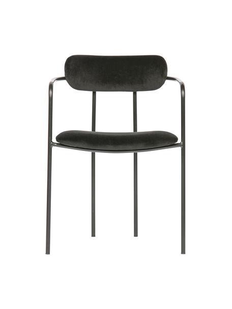 Krzesło z podłokietnikami z aksamitu z metalowym stelażem Elvy, Tapicerka: 100% aksamit poliestrowy , Stelaż: metal powlekany, Czarny, S 52 x G 50 cm