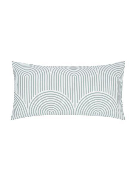 Poszewka na poduszkę z bawełny Arcs, 2 szt., Zielony, biały, S 40 x D 80 cm