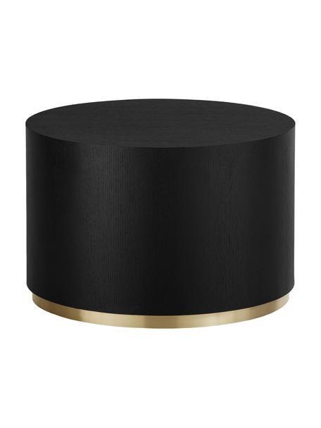 Mesa de centro redonda Clarice, Estructura: tablero de fibras de dens, Estructura: madera de roble, negro pintado Patas: dorado brillante cepillado, Ø 60 x Al 40 cm