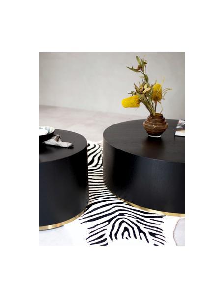 Runder Couchtisch Clarice in Schwarz, Korpus: Mitteldichte Holzfaserpla, Schwarz, Goldfarben, Ø 60 x H 40 cm