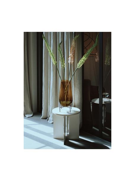 Jarrón de suelo de vidrio soplado Échasse, Estructura: latón, Jarrón: vidrio soplado artesanalm, Marrón, bronce, Ø 30 x Al 60 cm