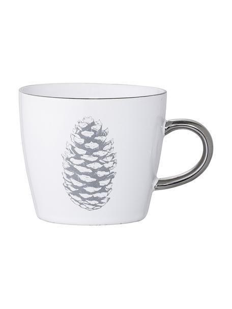 Tassen Frost mit winterlichem Motiv und silbernem Henkel, 2 Stück, Steingut, Weiß, Silberfarben, Hellgrau, Ø 10 x H 8 cm