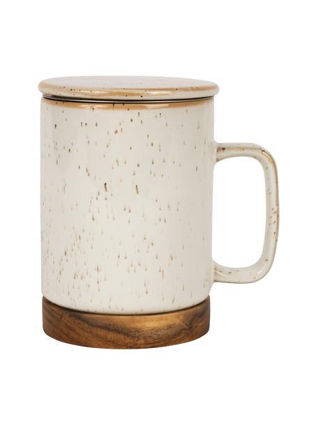 Keramische mok Nordika met deksel en zeef, voetstuk van acaciahout, Voetstuk: acaciahout, Zeef: edelstaal, Beige, Ø 9 x H 12 cm