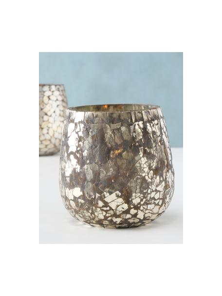 Windlichtenset Kyritz, 2-delig, Glas, Bruin, zilverkleurig met antieke afwerking, Ø 12 x H 13 cm