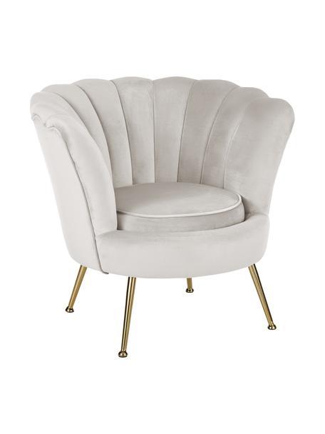 Fotel z aksamitu Oyster, Tapicerka: aksamit (poliester) Dzięk, Nogi: metal galwanizowany, Aksamitny kremowobiały, S 81 x G 78 cm