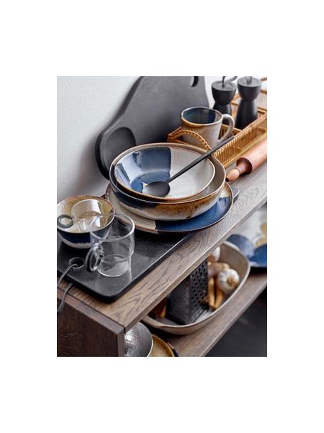 Handgemaakte serveerschaal Jules van keramiek met kleurverloop, Ø 25 cm, Keramiek, Beige- en bruintinten, zwart, Ø 25 x H 7 cm