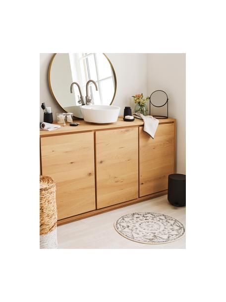 Ronde badmat Gaile in boho stijl, antislip, Bovenzijde: 100% katoen, Onderzijde: silicone, Bovenzijde: crèmekleurig, grijs gevlekt. Onderzijde: crèmekleurig, Ø 60 cm