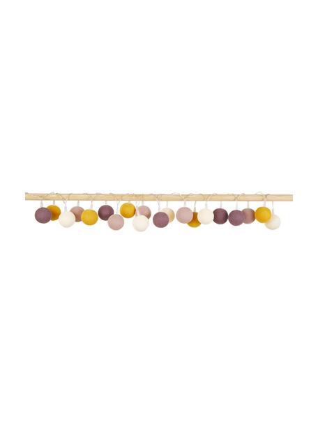 LED lichtslinger Colorain, 378 cm, 20 lampions, Lampions: polyester, Wit, geel, poederroze, oudroze, L 378 cm