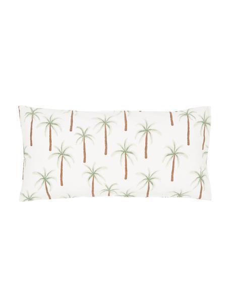 Perkal-Kissenbezüge Martha aus Bio-Baumwolle mit Palmen-Print, 2 Stück, Webart: Perkal Fadendichte 180 TC, Weiß, Grün, Braun, 40 x 80 cm