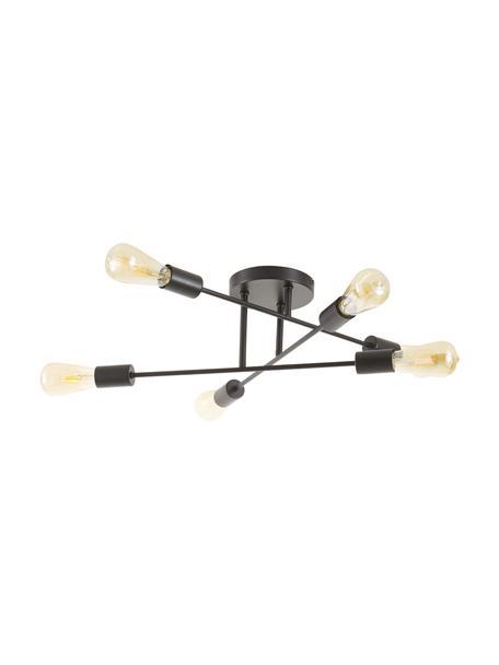 Plafondlamp Visby in zwart, Baldakijn: gepoedercoat metaal, Mat zwart, Ø 55 cm