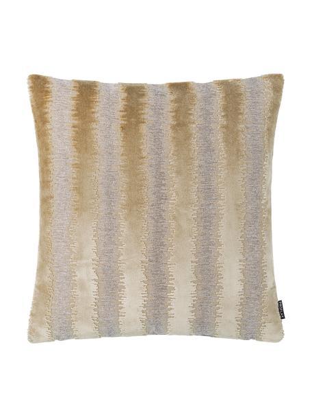 Glinsterende kussenhoes Andres met verschillende structuur, 53% viscose, 41% polyester, 7% katoen, Beigetinten, 40 x 40 cm