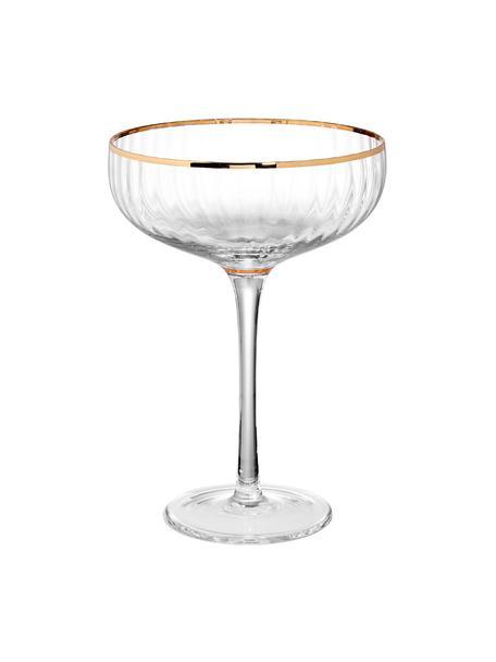 Große Champagnerschalen Golden Twenties mit Goldrand und 400 ml , 2 Stück, Glas, Transparent, Goldfarben, Ø 13 x H 19 cm