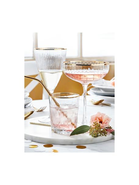 Große Champagnerschalen Golden Twenties mit Goldrand, 2 Stück, Glas, Transparent, Goldfarben, Ø 13 x H 19 cm