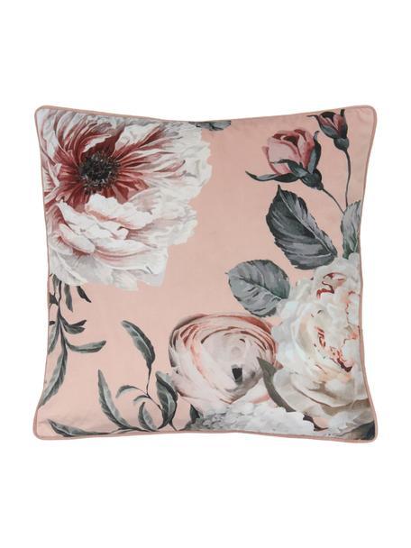 Poszewka na poduszkę z aksamitu Blossom, 100% aksamit poliestrowy, Blady różowy, S 45 x D 45 cm
