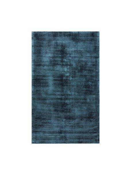 Alfombra artesanal de viscosa Jane, Parte superior: 100%viscosa, Reverso: 100%algodón, Azul oscuro, An 90 x L 150 cm (Tamaño XS)