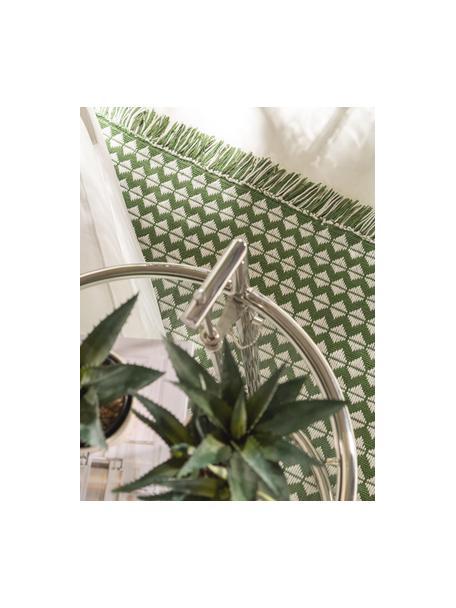 Dywan wewnętrzny/zewnętrzny z frędzlami Morty, 100% poliester (tworzywo PET z recyklingu), Zielony, złamana biel, S 80 x D 150 cm (Rozmiar XS)