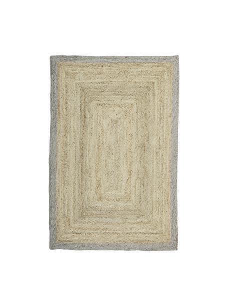 Handgefertigter Jute-Teppich Shanta mit grauem Rand, 100% Jute, Beige, Grau, B 200 x L 300 cm (Größe L)