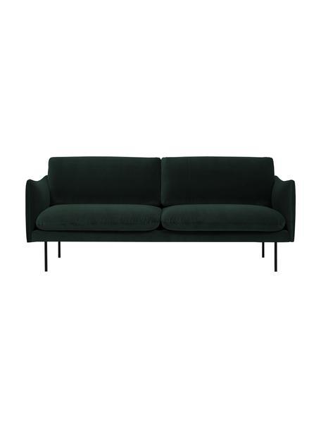 Samt-Sofa Moby (2-Sitzer) in Dunkelgrün mit Metall-Füßen, Bezug: Samt (Hochwertiger Polyes, Gestell: Massives Kiefernholz, Füße: Metall, pulverbeschichtet, Samt Dunkelgrün, B 170 x T 95 cm