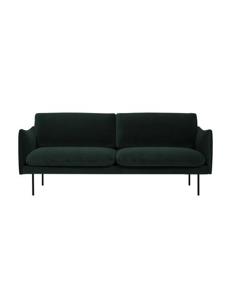 Sofa z aksamitu z metalowymi nogami Moby (2-osobowa), Tapicerka: aksamit (wysokiej jakości, Stelaż: lite drewno sosnowe, Nogi: metal malowany proszkowo, Aksamitny ciemny zielony, S 170 x G 95 cm