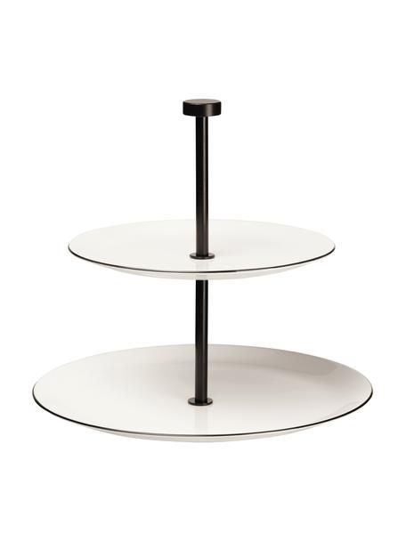 Porseleinen etagère Cabaret, Ø 27 cm, Stang: gecoat metaal, Zwart, wit, Ø 27 x H 24 cm