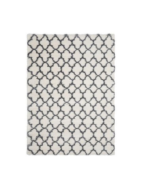Hochflor-Teppich Mona in Creme/Dunkelgrau, Flor: 100% Polypropylen, Cremeweiß, Dunkelgrau, B 300 x L 400 cm (Größe XL)