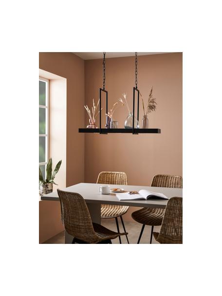 Grote LED hanglamp Tray in industrieel design, Gelakt metaal, Zwart, 80 x 50 cm