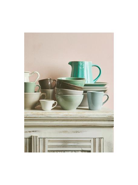 Tazas de café Constance, 2uds., estilo rústico, Gres, Verde menta, Ø 9 x Al 10 cm