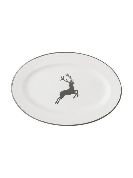 Handbeschilderde serveerplateau gourmet Grey Deer, B 14 x L 21 cm, Keramiek, Grijs, wit, 14 x 21 cm