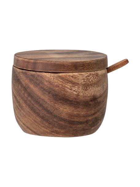 Zuccheriera con cucchiaio in legno di mango Elfa, Legno di acacia, Marrone, Ø 9 x Alt. 8 cm