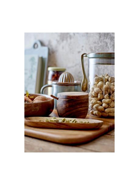 Suikerpot Elfa met lepel van mangohout, Acaciahout, Bruin, Ø 9 x H 8 cm