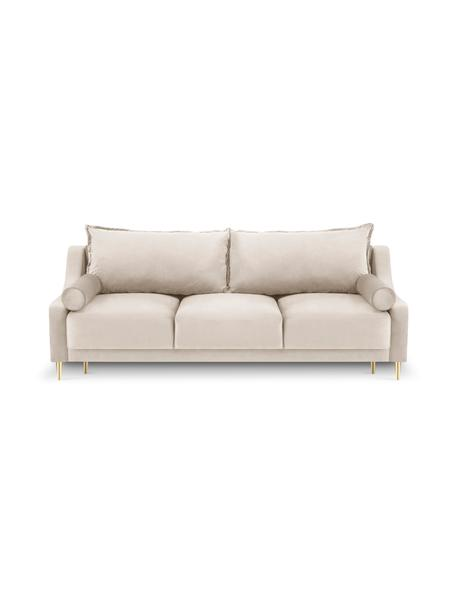 Sofa rozkładana z aksamitu Lea (3-osobowa), Nogi: metal powlekany, Beżowy, S 245 x G 95 cm